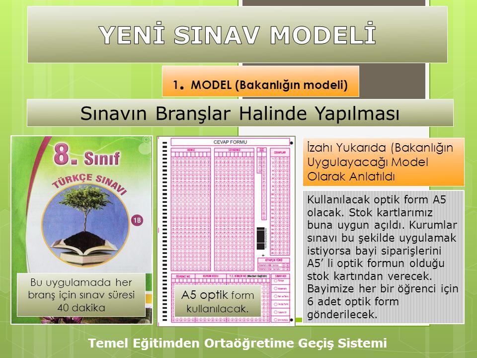 Temel Eğitimden Ortaöğretime Geçiş Sistemi 1. MODEL (Bakanlığın modeli) İzahı Yukarıda (Bakanlığın Uygulayacağı Model Olarak Anlatıldı Kullanılacak op