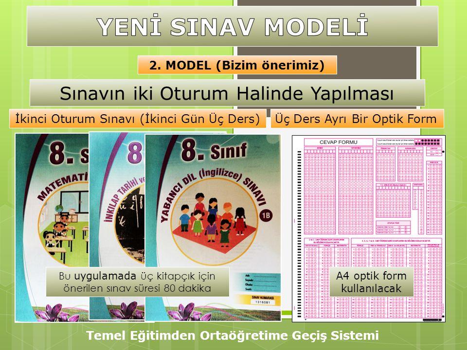 Temel Eğitimden Ortaöğretime Geçiş Sistemi 2. MODEL (Bizim önerimiz) A4 optik form kullanılacak İkinci Oturum Sınavı (İkinci Gün Üç Ders)Üç Ders Ayrı