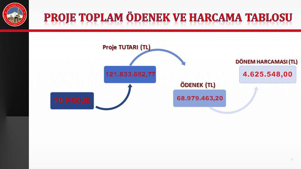 Proje TUTARI (TL) ÖDENEK (TL) DÖNEM HARCAMASI (TL) 4