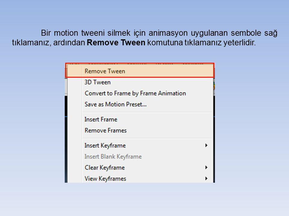 Bir motion tweeni silmek için animasyon uygulanan sembole sağ tıklamanız, ardından Remove Tween komutuna tıklamanız yeterlidir.