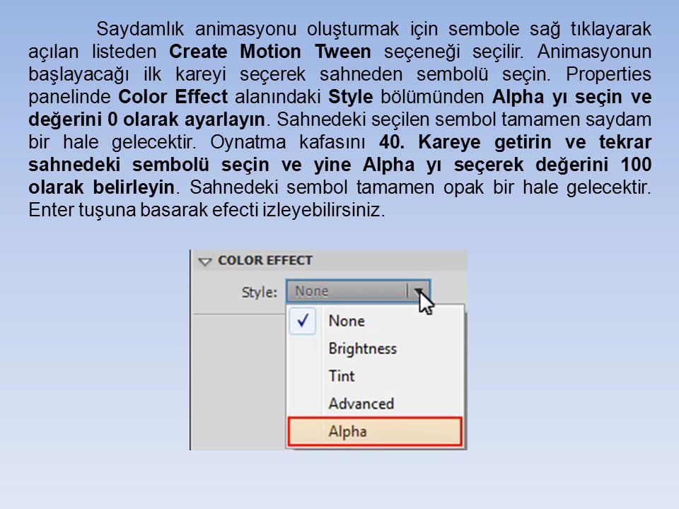 Saydamlık animasyonu oluşturmak için sembole sağ tıklayarak açılan listeden Create Motion Tween seçeneği seçilir. Animasyonun başlayacağı ilk kareyi s