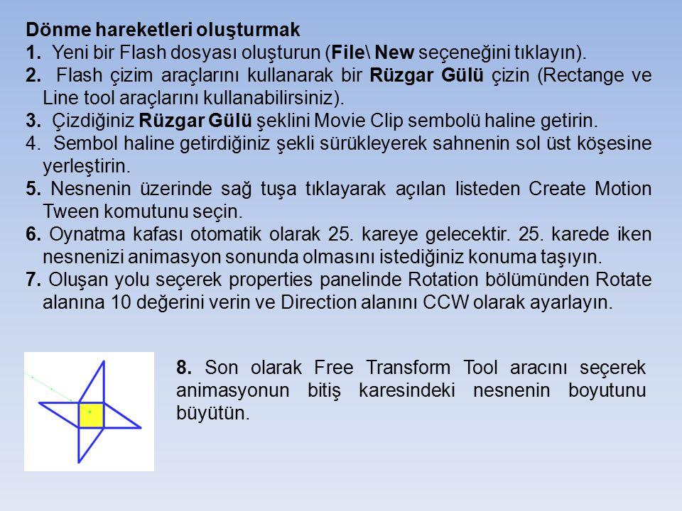Dönme hareketleri oluşturmak 1. Yeni bir Flash dosyası oluşturun (File\ New seçeneğini tıklayın). 2. Flash çizim araçlarını kullanarak bir Rüzgar Gülü