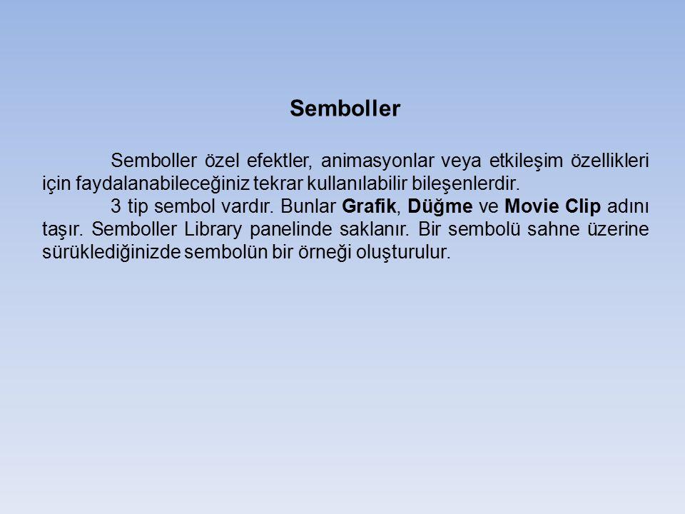 Semboller Semboller özel efektler, animasyonlar veya etkileşim özellikleri için faydalanabileceğiniz tekrar kullanılabilir bileşenlerdir. 3 tip sembol