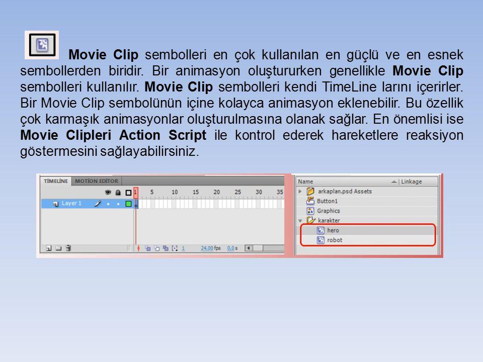 Movie Clip sembolleri en çok kullanılan en güçlü ve en esnek sembollerden biridir. Bir animasyon oluştururken genellikle Movie Clip sembolleri kullanı