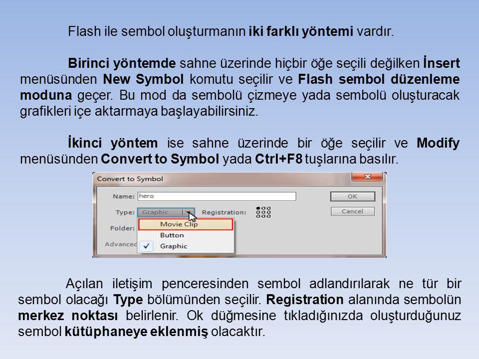 Flash ile sembol oluşturmanın iki farklı yöntemi vardır. Birinci yöntemde sahne üzerinde hiçbir öğe seçili değilken İnsert menüsünden New Symbol komut