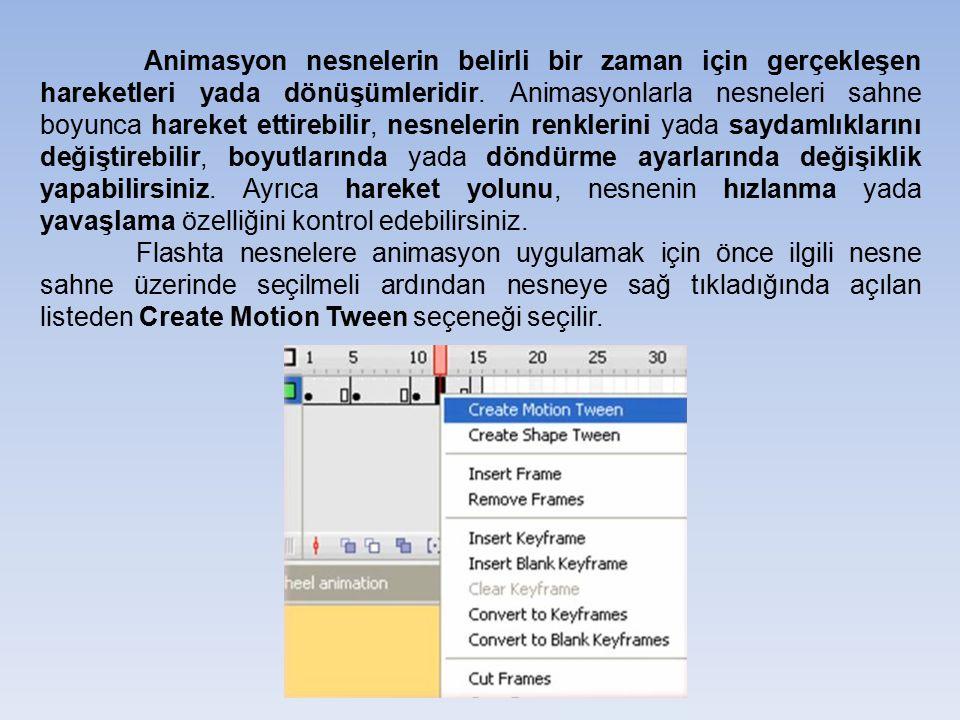 Animasyon nesnelerin belirli bir zaman için gerçekleşen hareketleri yada dönüşümleridir.