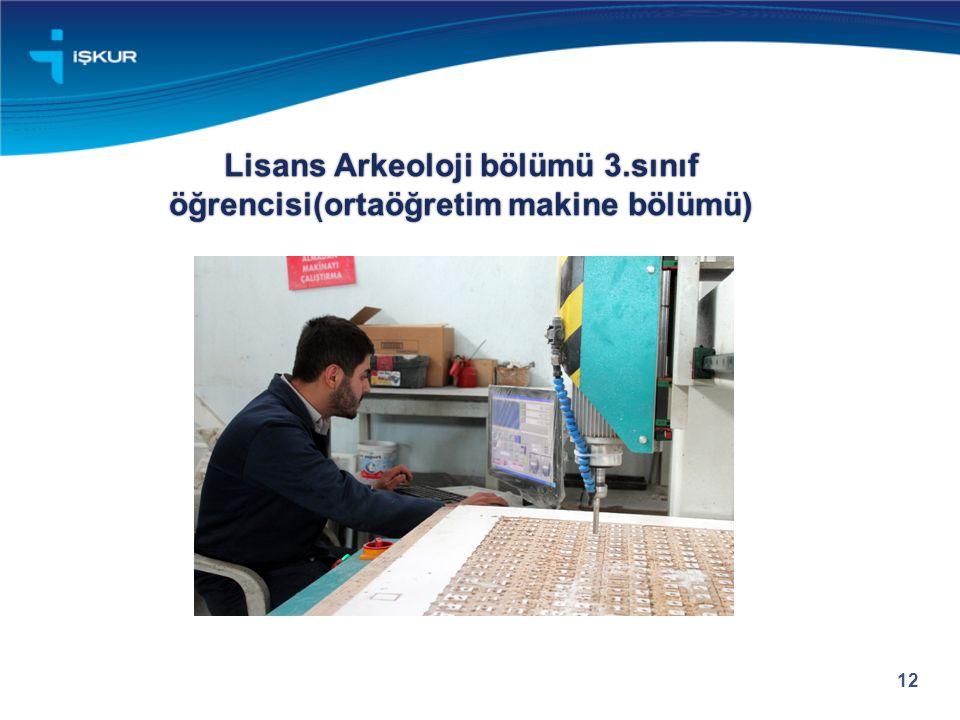 Lisans Arkeoloji bölümü 3.sınıf öğrencisi(ortaöğretim makine bölümü) 12