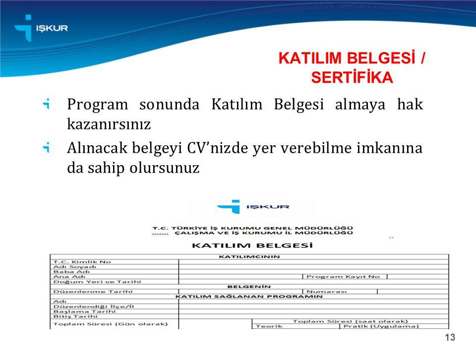 KATILIM BELGESİ / SERTİFİKA Program sonunda Katılım Belgesi almaya hak kazanırsınız Alınacak belgeyi CV'nizde yer verebilme imkanına da sahip olursunuz 13