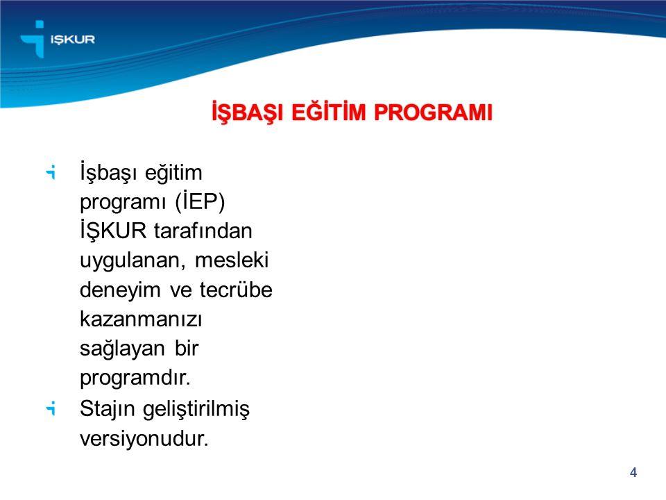 İşbaşı eğitim programı (İEP) İŞKUR tarafından uygulanan, mesleki deneyim ve tecrübe kazanmanızı sağlayan bir programdır.