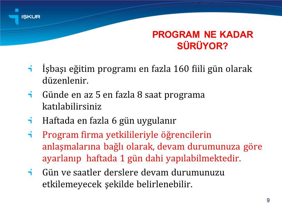 PROGRAM NE KADAR SÜRÜYOR. İşbaşı eğitim programı en fazla 160 fiili gün olarak düzenlenir.