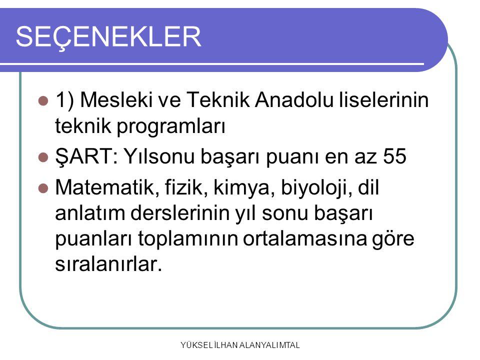 YÜKSEL İLHAN ALANYALI MTAL SEÇENEKLER 1) Mesleki ve Teknik Anadolu liselerinin teknik programları ŞART: Yılsonu başarı puanı en az 55 Matematik, fizik