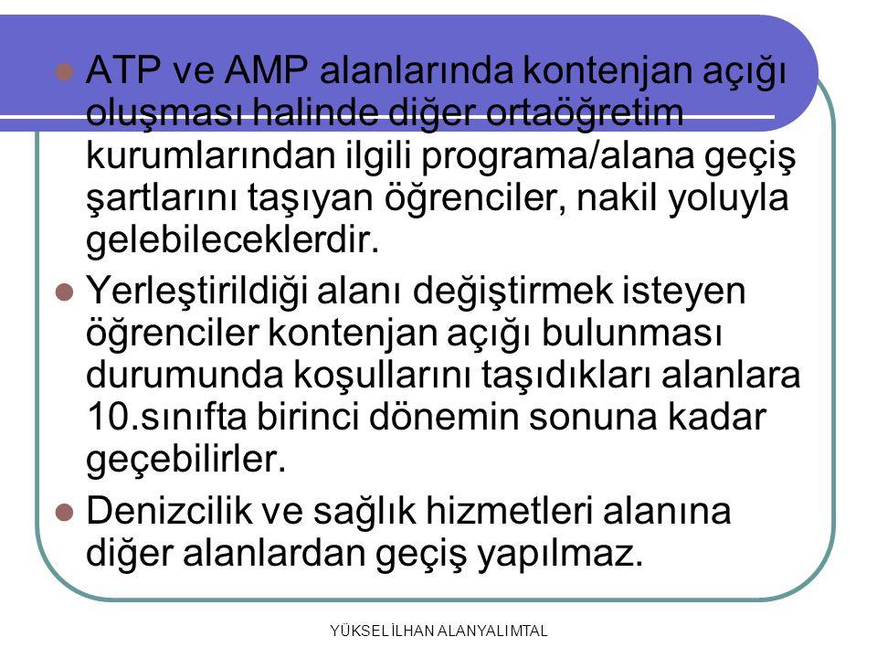 YÜKSEL İLHAN ALANYALI MTAL ATP ve AMP alanlarında kontenjan açığı oluşması halinde diğer ortaöğretim kurumlarından ilgili programa/alana geçiş şartlar