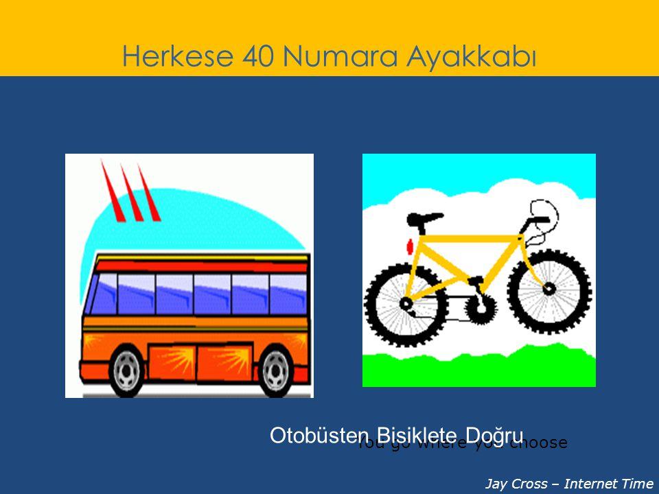Herkese 40 Numara Ayakkabı You go where you choose Jay Cross – Internet Time Otobüsten Bisiklete Doğru
