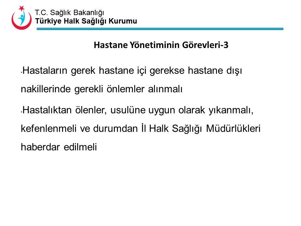 T.C. Sağlık Bakanlığı Türkiye Halk Sağlığı Kurumu T.C. Sağlık Bakanlığı Türkiye Halk Sağlığı Kurumu Hastane Yönetiminin Görevleri-3 Hastaların gerek h