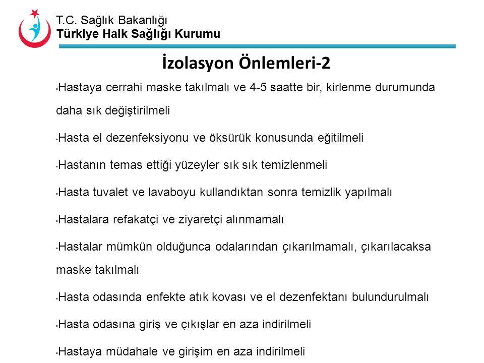 T.C. Sağlık Bakanlığı Türkiye Halk Sağlığı Kurumu T.C. Sağlık Bakanlığı Türkiye Halk Sağlığı Kurumu Hastaya cerrahi maske takılmalı ve 4-5 saatte bir,