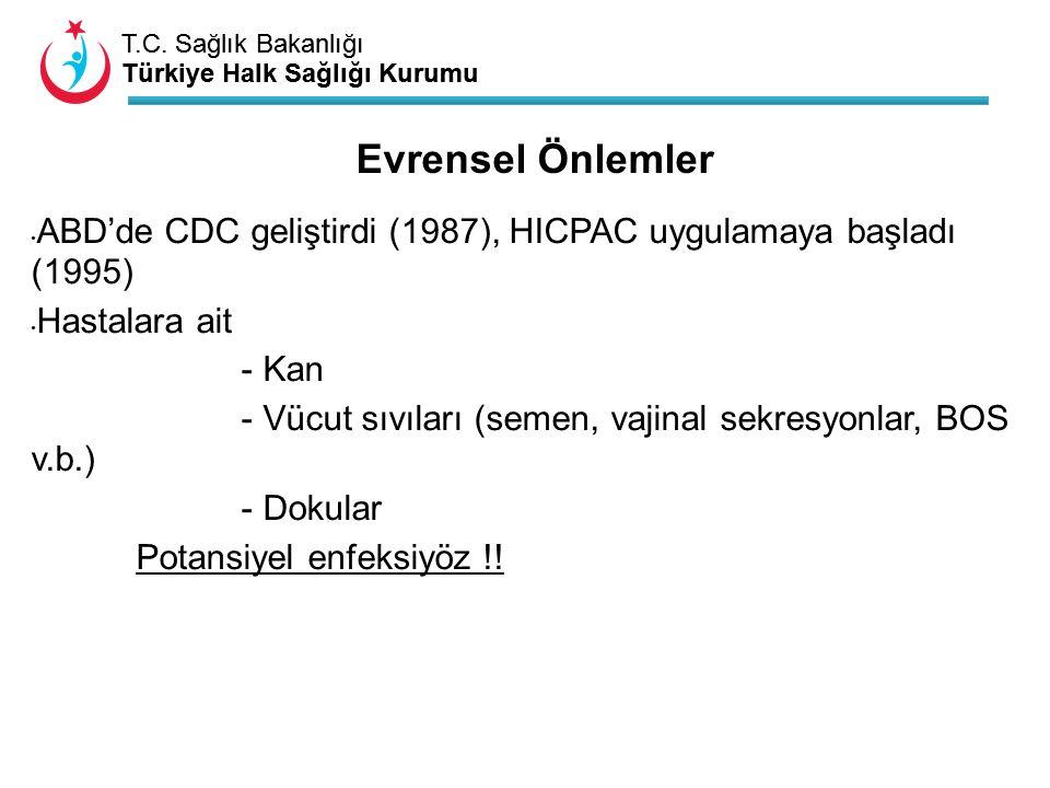 T.C. Sağlık Bakanlığı Türkiye Halk Sağlığı Kurumu T.C. Sağlık Bakanlığı Türkiye Halk Sağlığı Kurumu Evrensel Önlemler ABD'de CDC geliştirdi (1987), HI