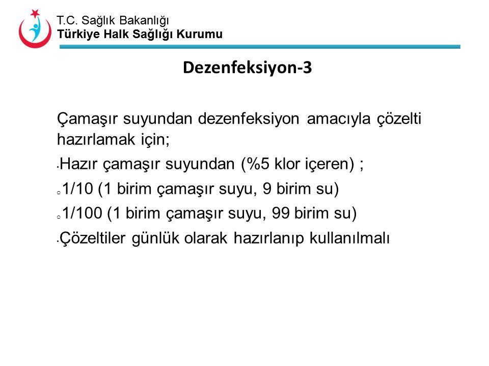 T.C. Sağlık Bakanlığı Türkiye Halk Sağlığı Kurumu T.C. Sağlık Bakanlığı Türkiye Halk Sağlığı Kurumu Çamaşır suyundan dezenfeksiyon amacıyla çözelti ha
