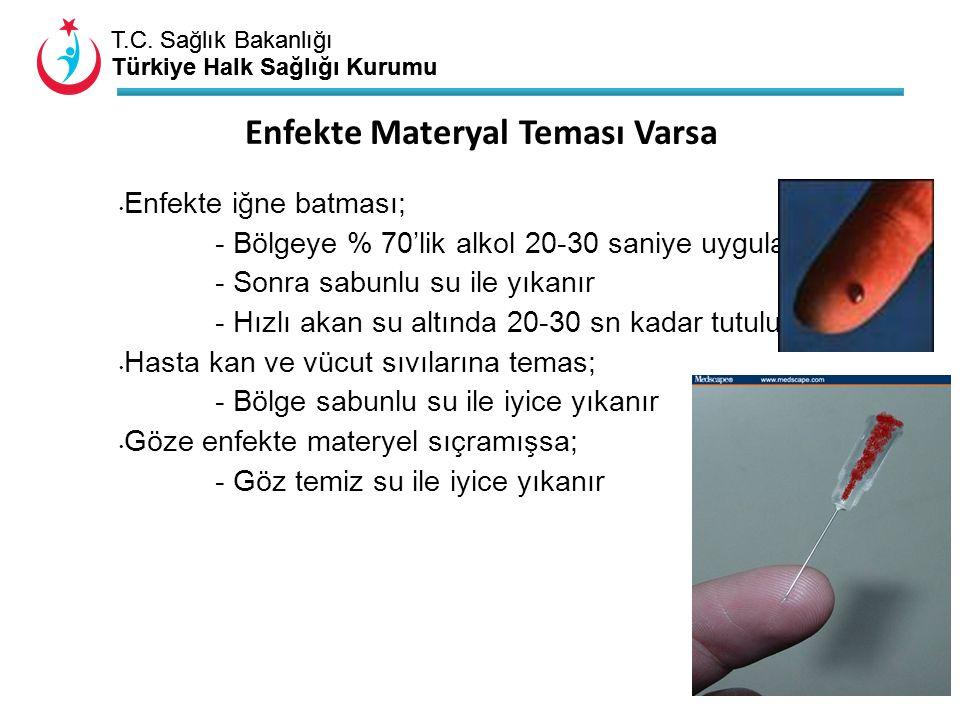 T.C. Sağlık Bakanlığı Türkiye Halk Sağlığı Kurumu T.C. Sağlık Bakanlığı Türkiye Halk Sağlığı Kurumu Enfekte iğne batması; - Bölgeye % 70'lik alkol 20-