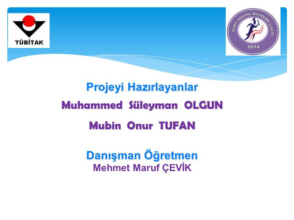 Projeyi Hazırlayanlar Muhammed Süleyman OLGUN Mubin Onur TUFAN Danışman Öğretmen Mehmet Maruf ÇEVİK