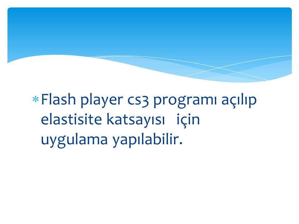  Flash player cs3 programı açılıp elastisite katsayısı için uygulama yapılabilir.