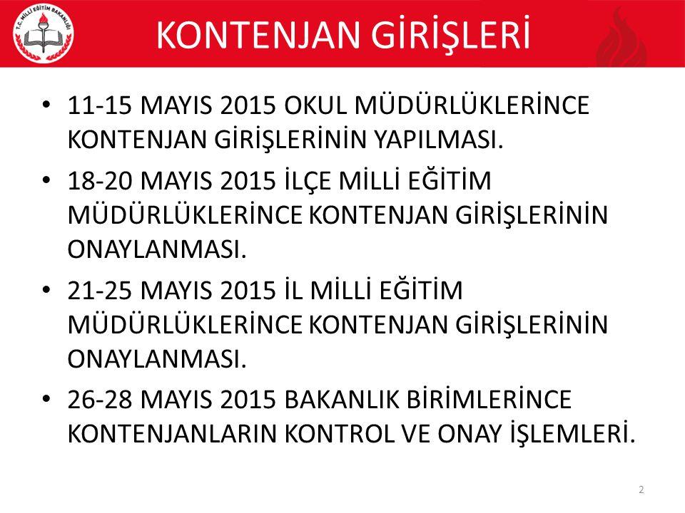 KONTENJAN GİRİŞLERİ 11-15 MAYIS 2015 OKUL MÜDÜRLÜKLERİNCE KONTENJAN GİRİŞLERİNİN YAPILMASI. 18-20 MAYIS 2015 İLÇE MİLLİ EĞİTİM MÜDÜRLÜKLERİNCE KONTENJ