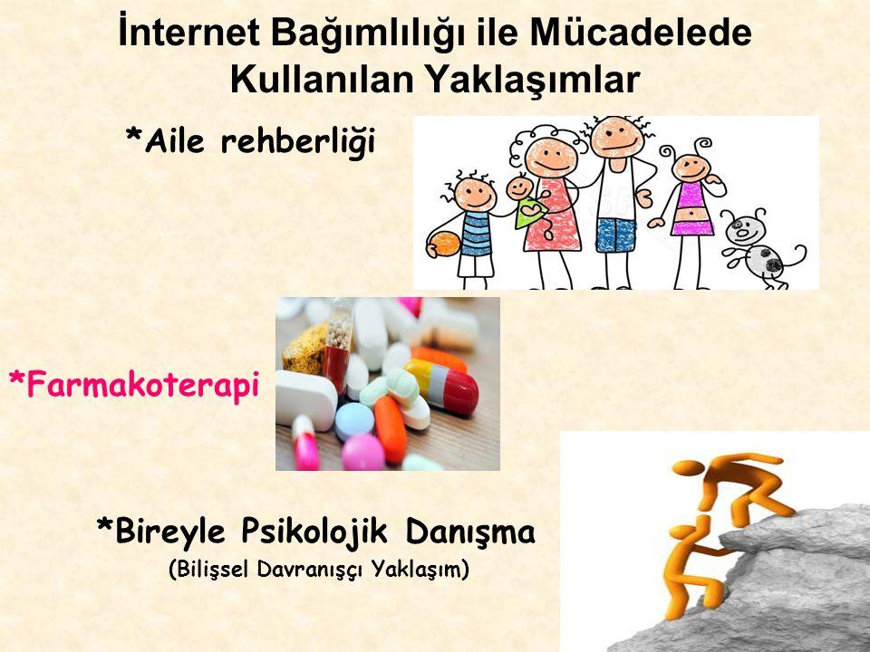 İnternet Bağımlılığı ile Mücadelede Kullanılan Yaklaşımlar *Aile rehberliği *Farmakoterapi *Bireyle Psikolojik Danışma (Bilişsel Davranışçı Yaklaşım)