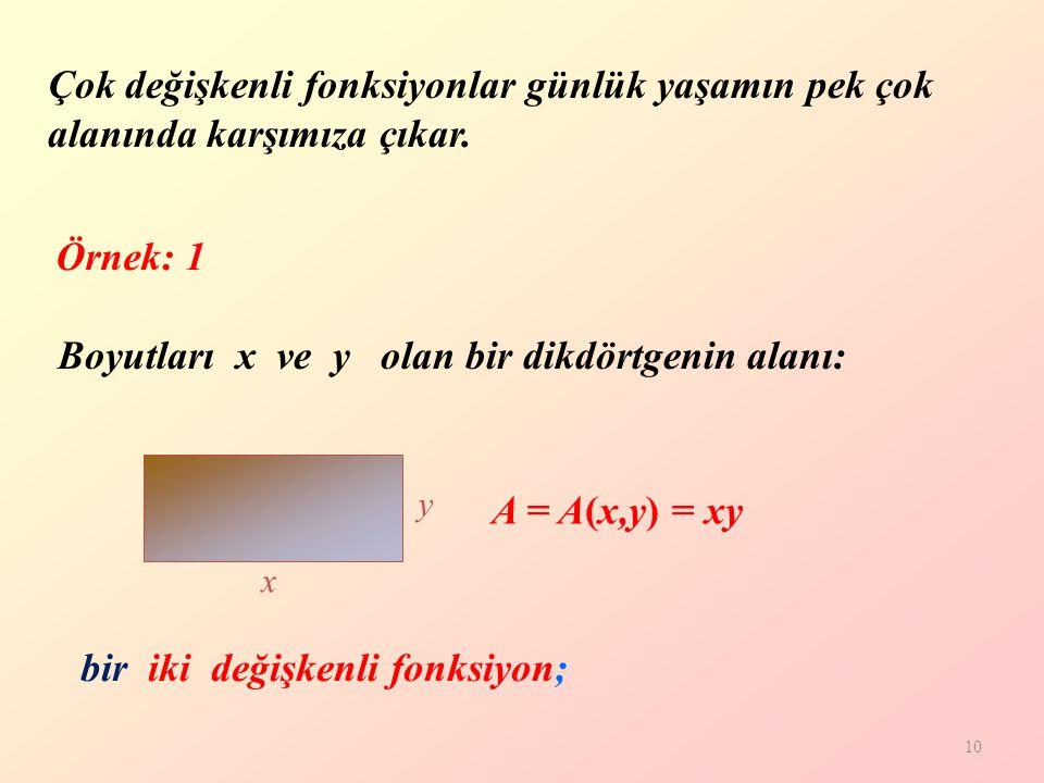 10 Boyutları x ve y olan bir dikdörtgenin alanı: bir iki değişkenli fonksiyon; y x A = A(x,y) = xy Çok değişkenli fonksiyonlar günlük yaşamın pek çok alanında karşımıza çıkar.