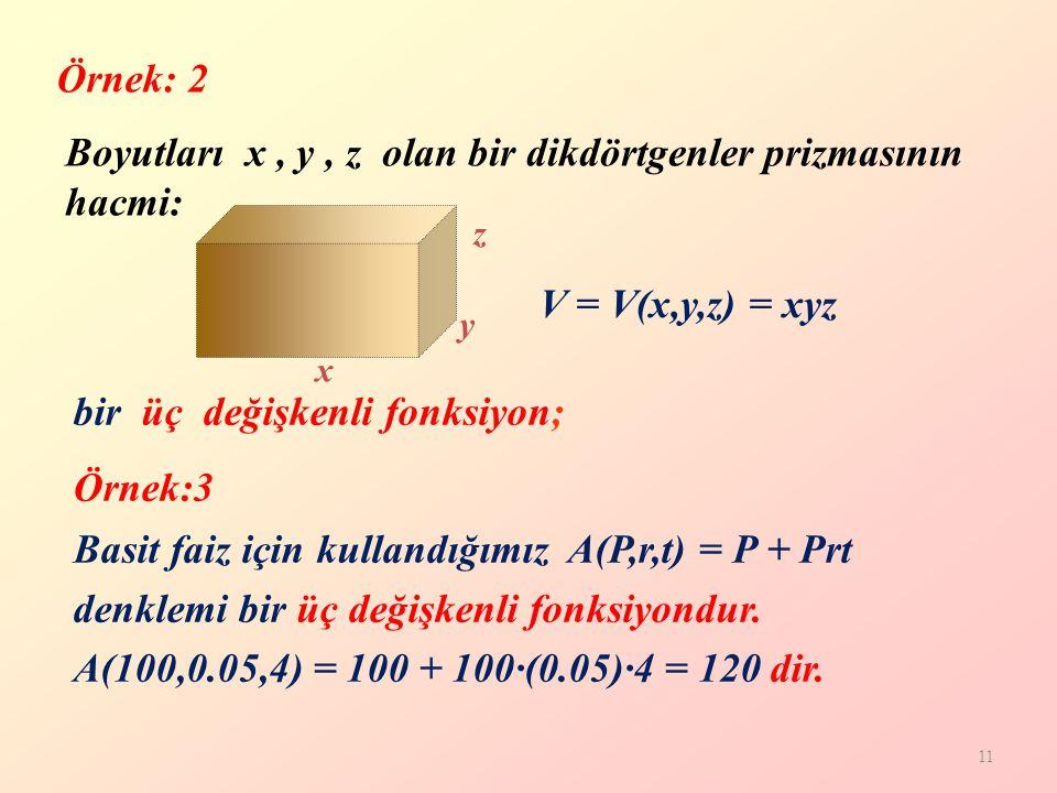 11 Boyutları x, y, z olan bir dikdörtgenler prizmasının hacmi: x z y V = V(x,y,z) = xyz bir üç değişkenli fonksiyon; Örnek: 2 Basit faiz için kullandığımız A(P,r,t) = P + Prt denklemi bir üç değişkenli fonksiyondur.