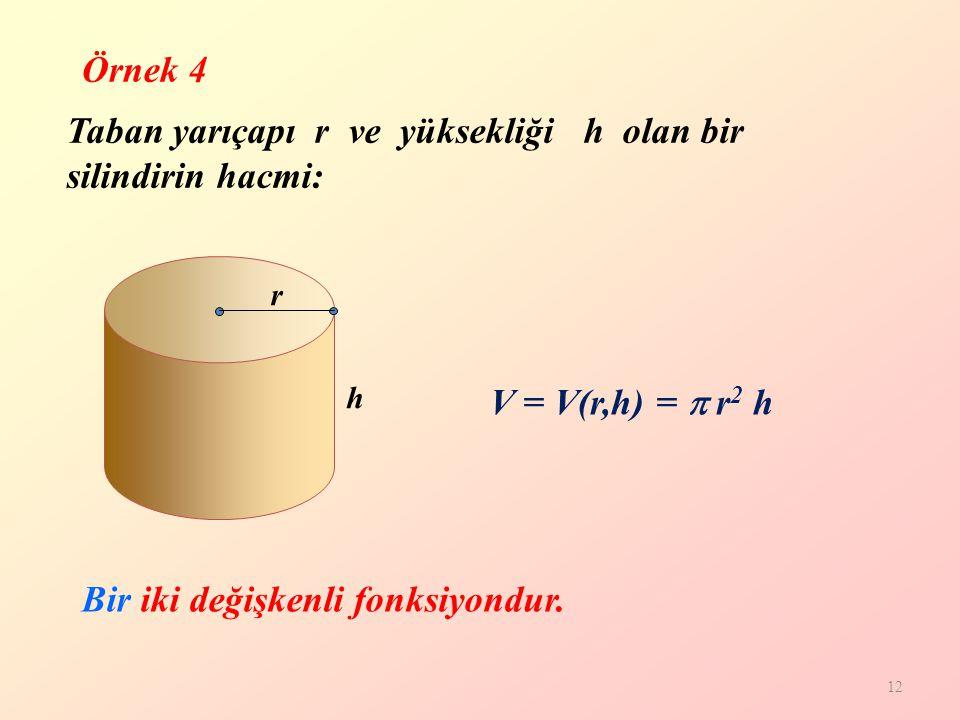 12 V = V(r,h) =  r 2 h h r Taban yarıçapı r ve yüksekliği h olan bir silindirin hacmi: Bir iki değişkenli fonksiyondur.
