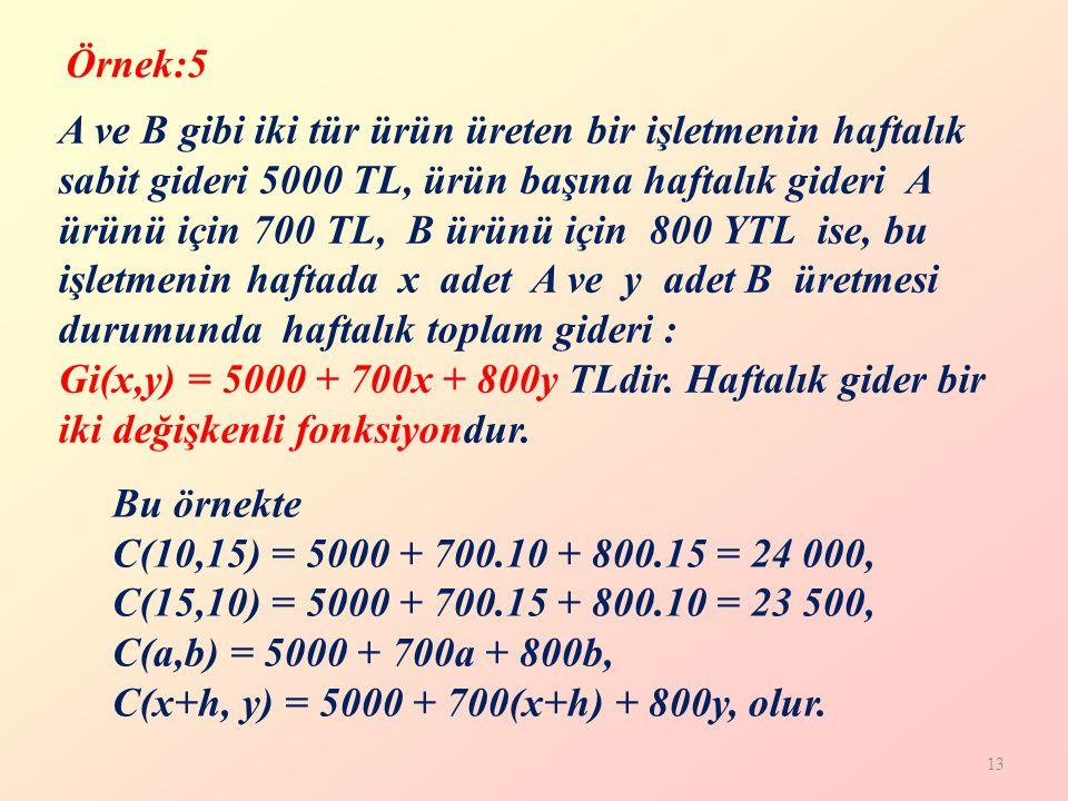 13 A ve B gibi iki tür ürün üreten bir işletmenin haftalık sabit gideri 5000 TL, ürün başına haftalık gideri A ürünü için 700 TL, B ürünü için 800 YTL ise, bu işletmenin haftada x adet A ve y adet B üretmesi durumunda haftalık toplam gideri : Gi(x,y) = 5000 + 700x + 800y TLdir.