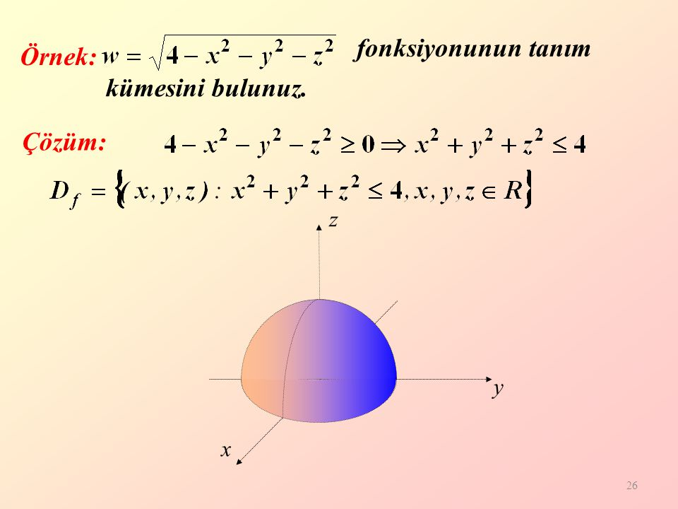 26 Örnek: Çözüm: z y x fonksiyonunun tanım kümesini bulunuz.