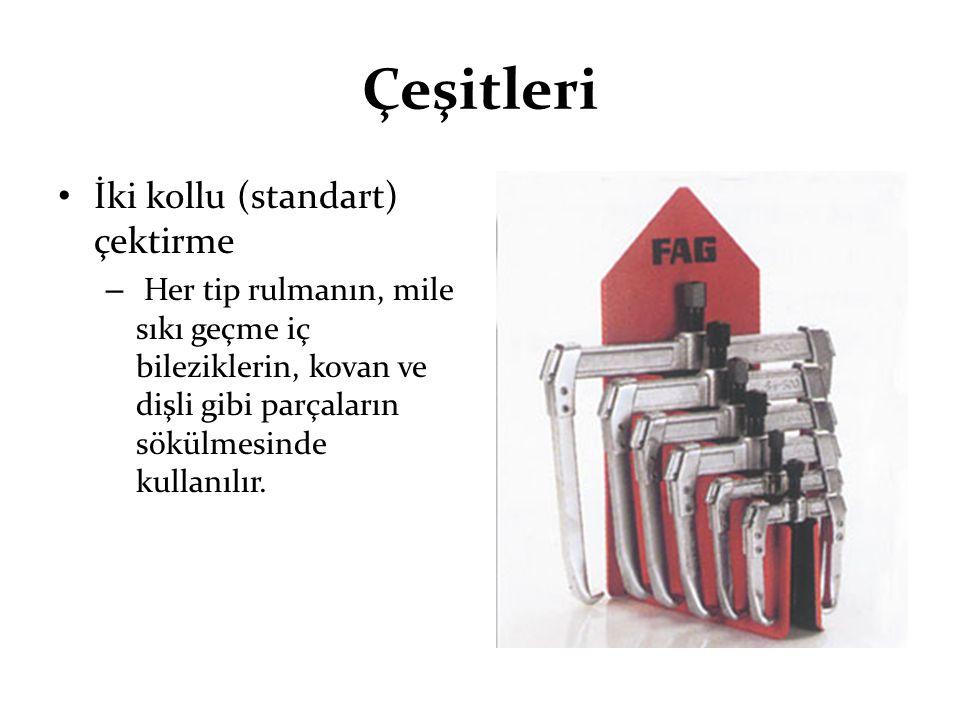 Çeşitleri İki kollu (standart) çektirme – Her tip rulmanın, mile sıkı geçme iç bileziklerin, kovan ve dişli gibi parçaların sökülmesinde kullanılır.