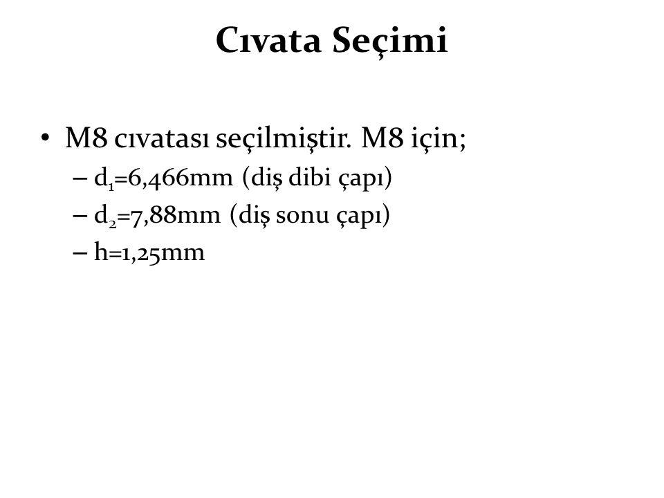 Cıvata Seçimi M8 cıvatası seçilmiştir. M8 için; – d 1 =6,466mm (diş dibi çapı) – d 2 =7,88mm (diş sonu çapı) – h=1,25mm