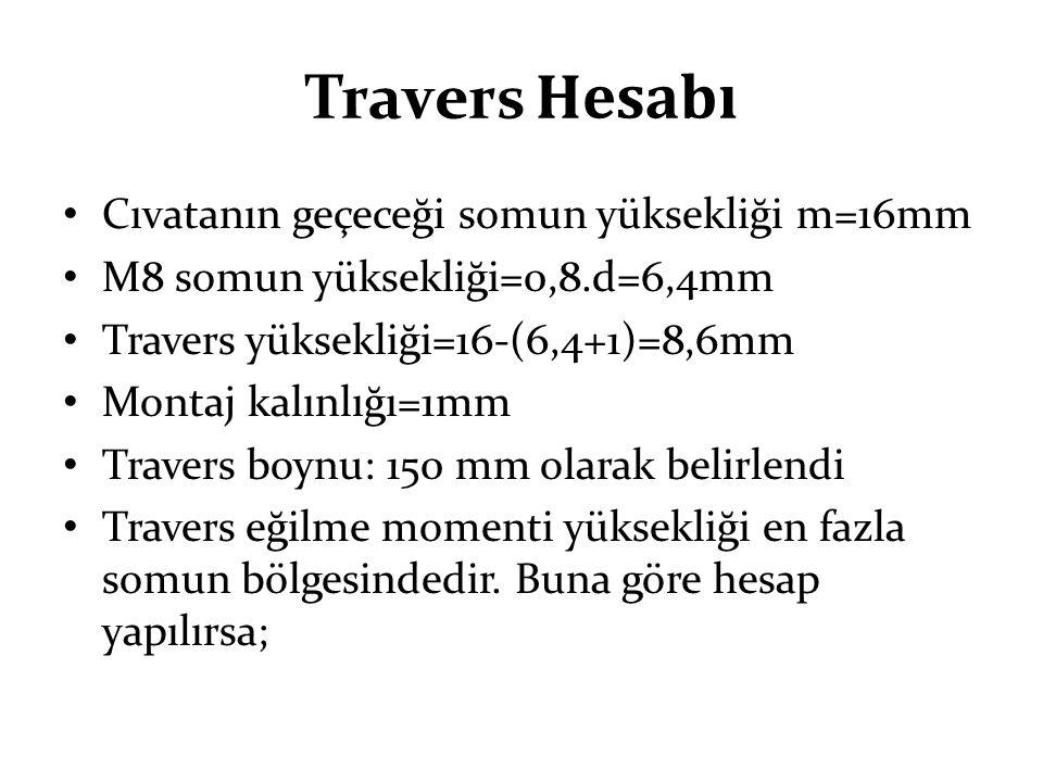 Travers Hesabı Cıvatanın geçeceği somun yüksekliği m=16mm M8 somun yüksekliği=0,8.d=6,4mm Travers yüksekliği=16-(6,4+1)=8,6mm Montaj kalınlığı=1mm Tra