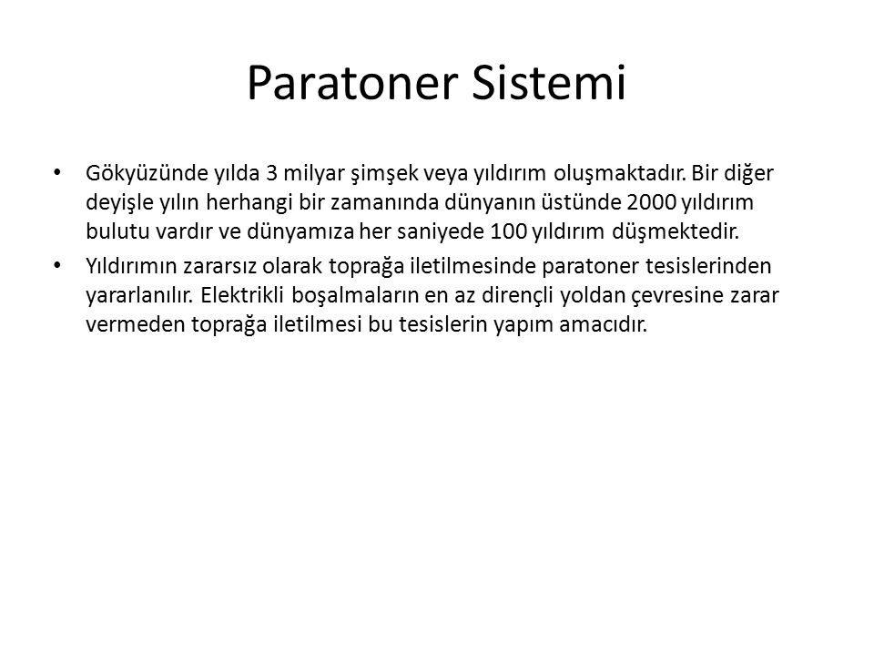 Paratoner elemanları İniş iletkenleri 2 x 30 veya 2 x 50 mm dolu daire kesitli bakır iniş iletkeni kullanılacaktır.