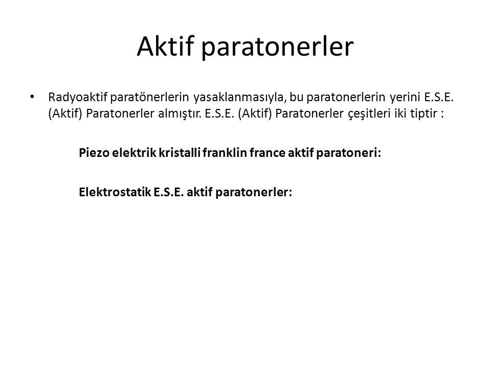 Aktif paratonerler Radyoaktif paratönerlerin yasaklanmasıyla, bu paratonerlerin yerini E.S.E. (Aktif) Paratonerler almıştır. E.S.E. (Aktif) Paratonerl