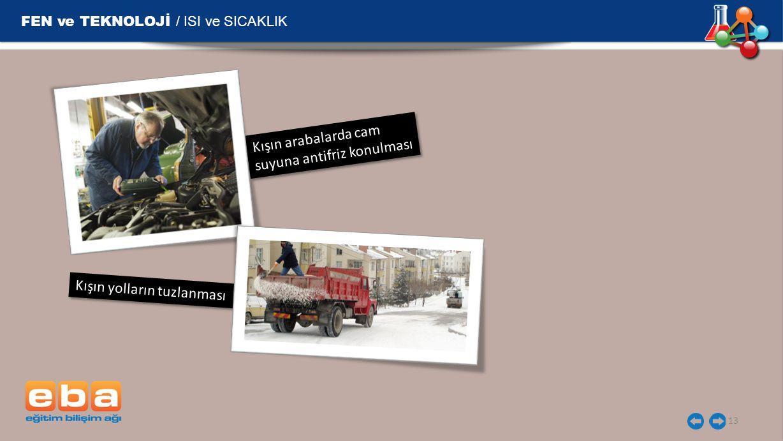 Kışın yolların tuzlanması FEN ve TEKNOLOJİ / ISI ve SICAKLIK 13 Kışın arabalarda cam suyuna antifriz konulması