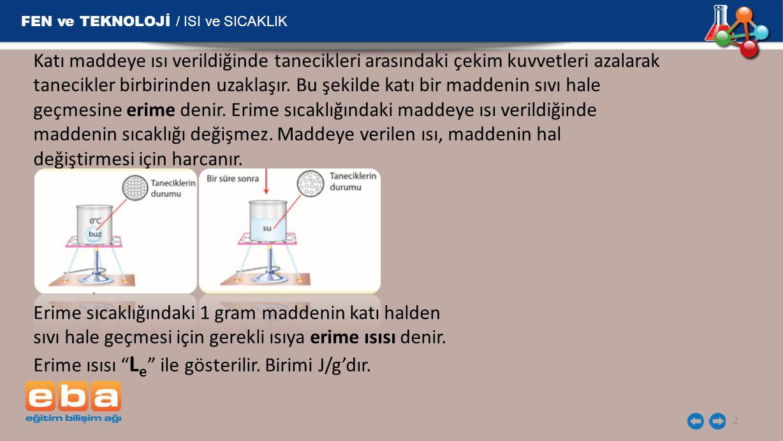 FEN ve TEKNOLOJİ / ISI ve SICAKLIK 2 Katı maddeye ısı verildiğinde tanecikleri arasındaki çekim kuvvetleri azalarak tanecikler birbirinden uzaklaşır.