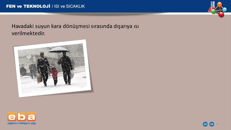 FEN ve TEKNOLOJİ / ISI ve SICAKLIK 6 Havadaki suyun kara dönüşmesi sırasında dışarıya ısı verilmektedir.
