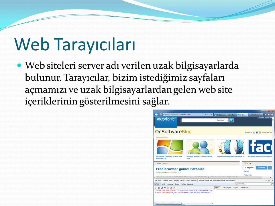 Web Tarayıcıları Web siteleri server adı verilen uzak bilgisayarlarda bulunur.