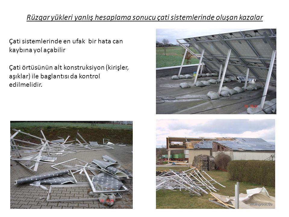 Rüzgar yükleri yanlış hesaplama sonucu çati sistemlerinde oluşan kazalar Çati sistemlerinde en ufak bir hata can kaybına yol açabilir Çati örtüsünün a