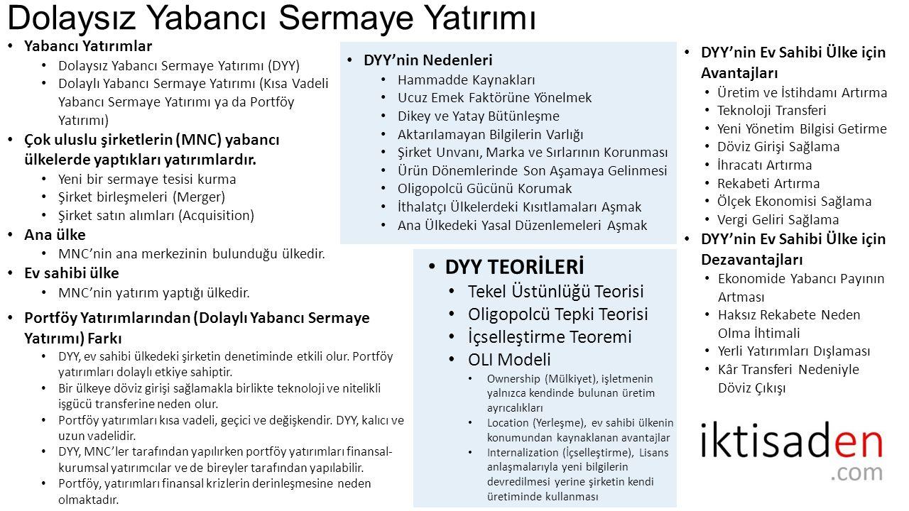 Türkiye ve Dünyada DYY nin Gelişimi (GSYH içindeki Payı) 1974 Dünya: 20,1 Milyar Dolar Türkiye: 64 Milyon Dolar 2013 Dünya: 1,76 Trilyon Dolar Türkiye: 12,8 Milyar Dolar
