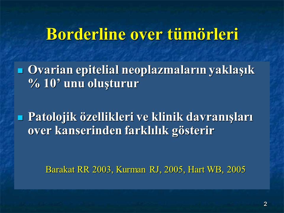 33 İleri evre seröz BOT hastalarında tanı ile relaps arasında geçen zaman : İleri evre seröz BOT hastalarında tanı ile relaps arasında geçen zaman : Non-İnvazif implant 85 ay İnvazif implant 24 ay 24 ay Gershenson, Cancer, 1998
