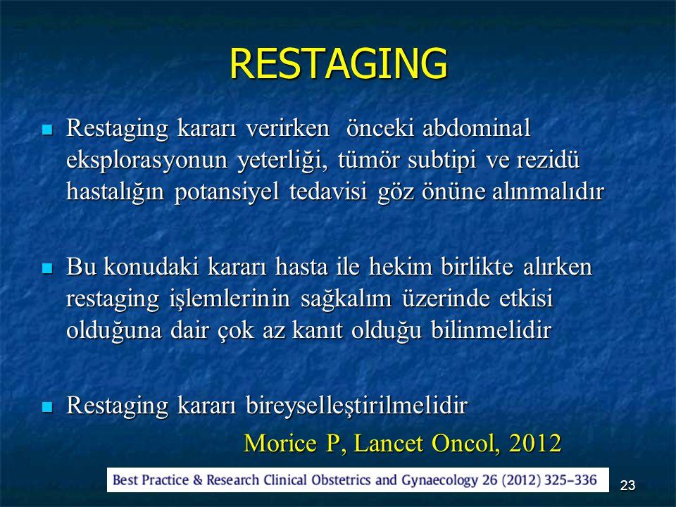 RESTAGING Restaging kararı verirken önceki abdominal eksplorasyonun yeterliği, tümör subtipi ve rezidü hastalığın potansiyel tedavisi göz önüne alınma