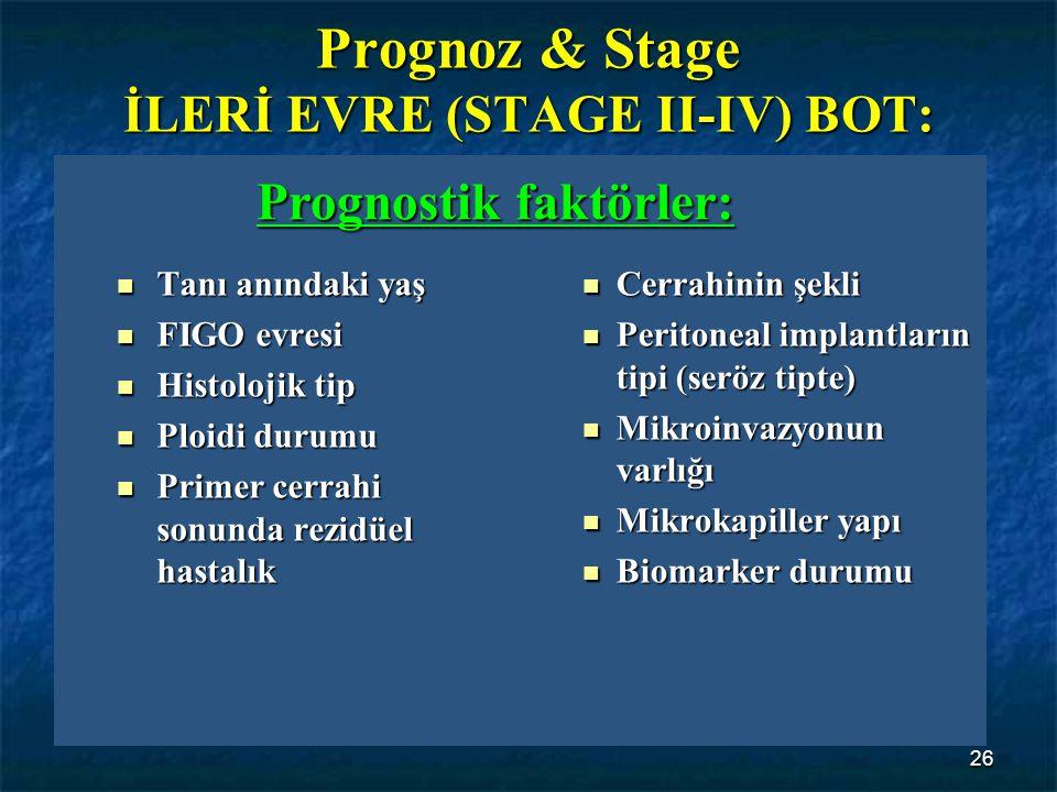 26 Prognoz & Stage İLERİ EVRE (STAGE II-IV) BOT: Tanı anındaki yaş Tanı anındaki yaş FIGO evresi FIGO evresi Histolojik tip Histolojik tip Ploidi duru