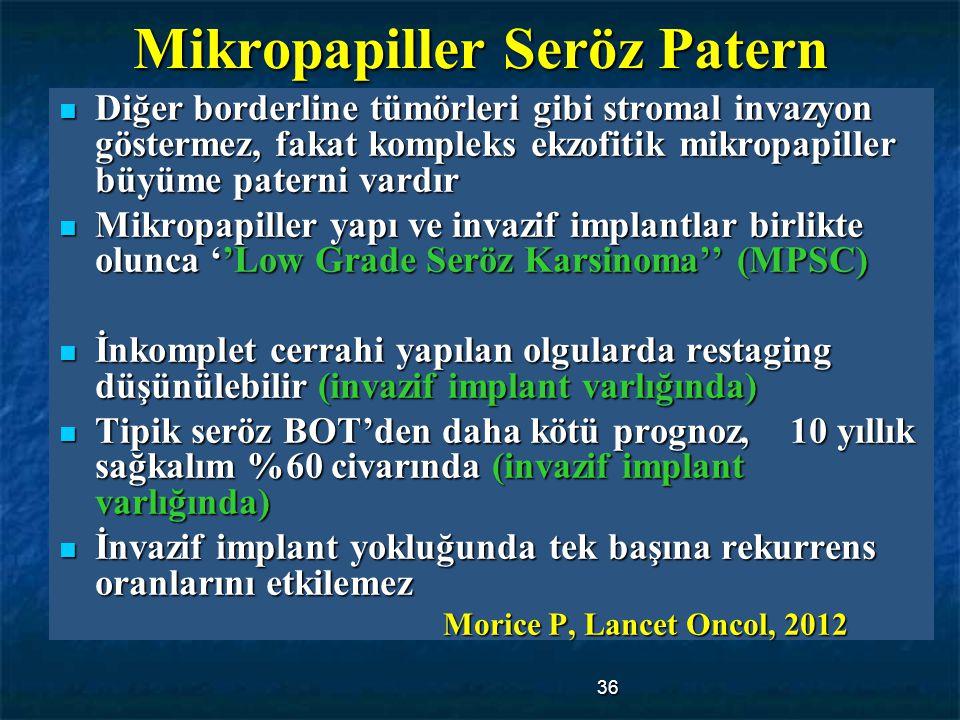 36 Mikropapiller Seröz Patern Diğer borderline tümörleri gibi stromal invazyon göstermez, fakat kompleks ekzofitik mikropapiller büyüme paterni vardır
