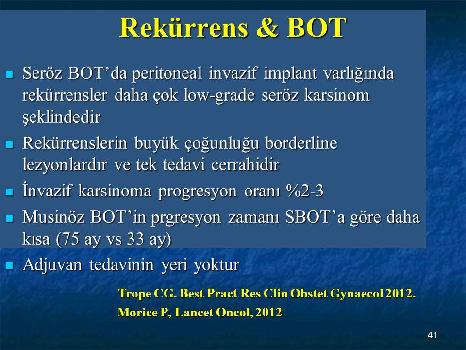 41 Seröz BOT'da peritoneal invazif implant varlığında rekürrensler daha çok low-grade seröz karsinom şeklindedir Seröz BOT'da peritoneal invazif impla