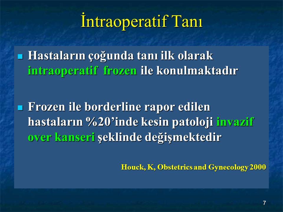 7 İntraoperatif Tanı Hastaların çoğunda tanı ilk olarak intraoperatif frozen ile konulmaktadır Hastaların çoğunda tanı ilk olarak intraoperatif frozen