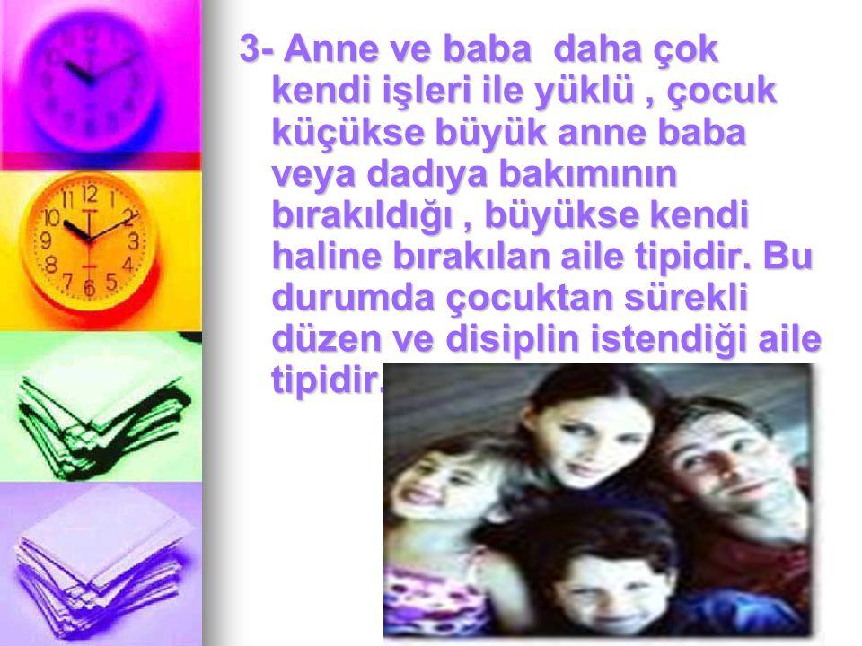 TurkPDR.com 3- Anne ve baba daha çok kendi işleri ile yüklü, çocuk küçükse büyük anne baba veya dadıya bakımının bırakıldığı, büyükse kendi haline bır