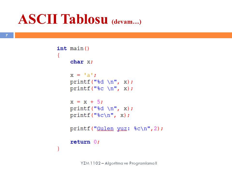 7 YZM 1102 – Algoritma ve Programlama II ASCII Tablosu (devam…)